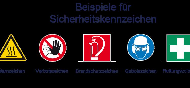 Schilder und Aufkleber zur Warnung, Orientierung, Beschriftung und Absicherung