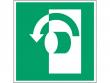 17: Gegen den Uhrzeigersinn drehen (Rettungsschild / Erste-Hilfe-Schild gemäß ISO 7010, ASR A1.3)