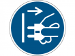 6: Gebotsschild - Netzstecker ziehen (gemäß DIN EN ISO 7010, ASR A1.3)