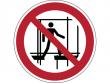 23: Verbotsschild - Benutzen des unvollständigen Gerüstes verboten (gemäß DIN EN ISO 7010)