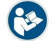 2: Gebotsschild - Anleitung beachten (gemäß DIN EN ISO 7010, ASR A1.3)