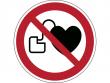 7: Verbotsschild - Kein Zutritt für Personen mit Herzschrittmachern oder implantierten Defibrillatoren (gemäß DIN EN ISO 7010, ASR A1.3)