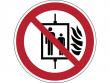 18: Verbotsschild - Aufzug im Brandfall nicht benutzen (gemäß DIN EN ISO 7010, ASR A1.3)