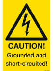 17: Caution! Grounded and short-circuited! (Warnschild)